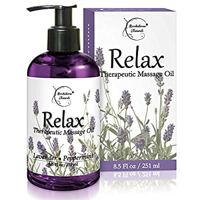 Relax Therapeutic Body Massage Oil - with Best Essential Oils for Sore Muscles & Stiffness ? Lavender, Peppermint & Marjoram - All Natural - with Sweet Almond, Grapeseed & Jojoba Oil 8.5oz