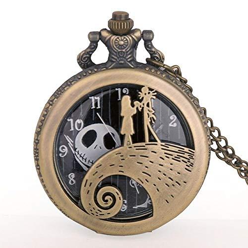 Yqs Reloj de Bolsillo Plata/Negro/Bronce Pesadilla Antes de Navidad del Reloj de...