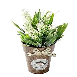 OuYou Planta y Flores Artificiales Falsa Planta Decorativa Bonsái en Maceta Hermosa de Estilo Pastoral para Decoración del Hogar (Flor + florero) (1C)