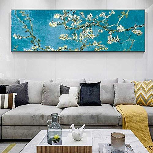 CAPTIVATE HEART Tela Quadro 60x180cm dsenza Cornice Mandorlo in Fiore di Van Gogh Poster e Stampe Immagine da Parete per la Decorazione della casa del Soggiorno