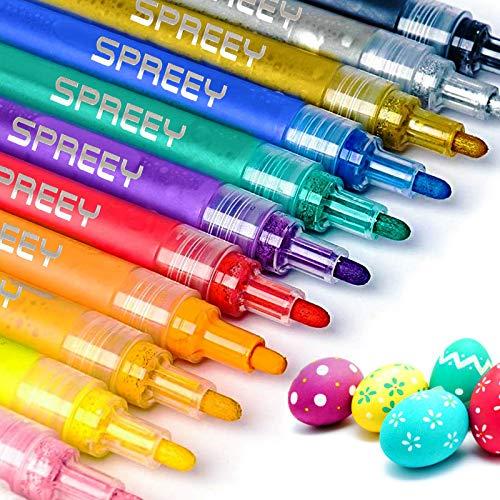 12 bolígrafos de pintura para rocas, cerámica, vidrio, madera, tela, lona, tazas, suministros para manualidades, álbumes de recortes, tarjetas, rotuladores de pintura acrílica, juego de 12 colores