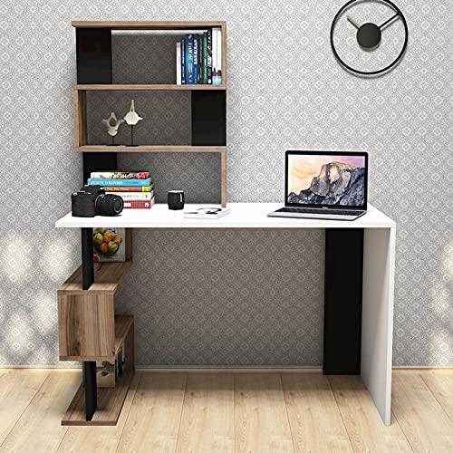 MINAR by Homemania Homemania Scrivania Snap Colore Bianco, Noce e Nero, in Melaminico e PVC-per Ufficio, Studio, Camera, Cameretta-Tavolo, Porta PC, Ripiano, 18 mm di qualità E1, Taglia Unica