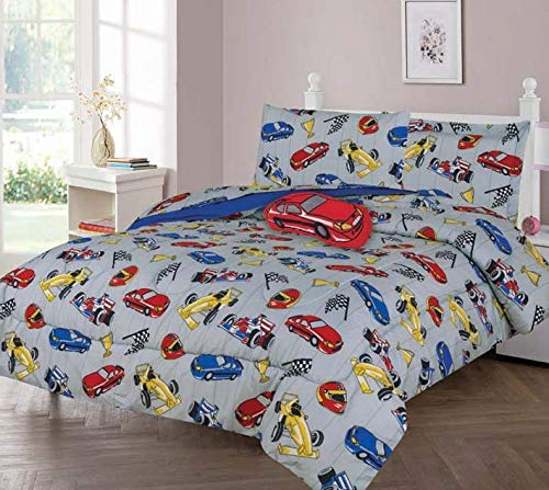 GorgeousHomeLinen Boys Girls Teens Twin/Full Comforter Bedding Set with Matching Sheets and Small Decorative Pillow Bed Dressing for Kids (Race CAR, Twin)