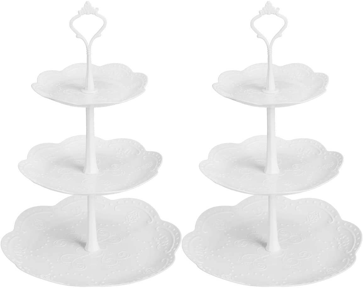 Coitak Plastic Cupcake Stands, 3 Tier Cupcake Stand, Dessert Tower Tray for Tea Party, Baby Shower and Wedding (2 Pack)
