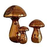 Loberon Deko-Pilze 3er Set Mushrooms, Weihnachtsdeko, Glas, H/B ca. 21/14 cm, antikkupfer