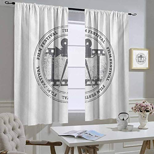 Movie Theater Best Home Fashion Thermal Insulated Blackout Curtains Film Festival Grungy Round Stamp with an Antique Projection Camera Silhouette The Best Choice for Bedroom and Living Room 55x72 Inc