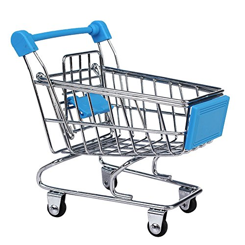 SM SunniMix Mini Chariot d'enfants De Chariot à Panier De Chariot à Panier De Brouette De Supermarché - 12 X 8,5 X 11 Cm - Bleu