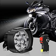S&D LED Motorcycle Headlight Bulb with Switch, Universal Super Bright White Driving Fog Spotlight DRL High/Low Beam/Strobe Flashing Headlamp