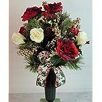 XL Christmas Peppermint Poinsettia's Artificial Silk Flower Cemetery Bouquet Vase Arrangement