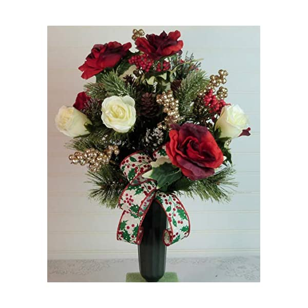 Silk Florals & Frills Christmas Cemetery Floral Arrangement, Grave Flowers Christmas, Christmas Cemetery Vase