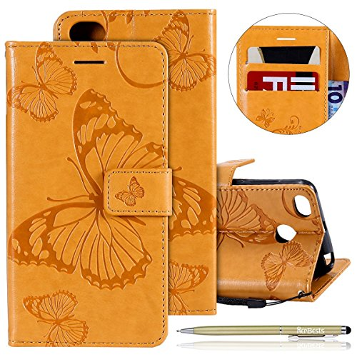 Herbests Kompatibel mit Leder Handy Schutzhülle Xiaomi Redmi 4X Lederhülle Schmetterling Muster Leder Handyhülle Handytasche Brieftasche Ledertasche Bookstyle Flip Hülle Cover Klapphülle,Gelb