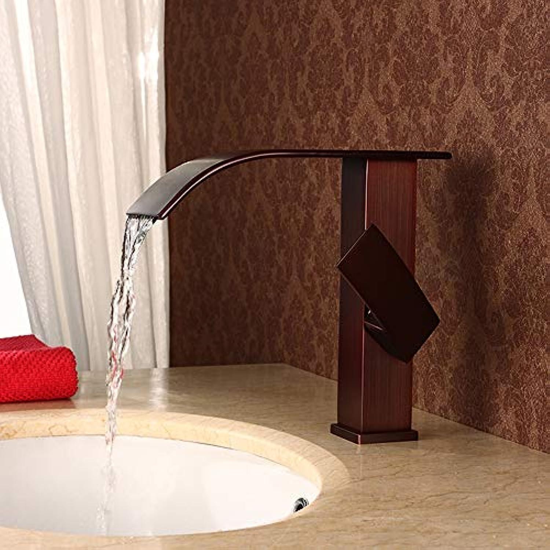 GYFY Quadratischer ORB-Wasserfall-Wasserfall-Wasserscheiben-Wasserhahn, Vollkupfer-Schleuderschutzverfahren Elegantes, ultrabreites Fliedesign (Heben Braun)