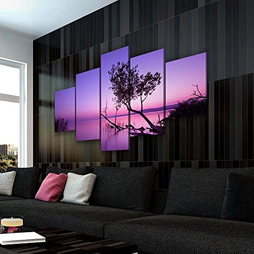 KOPASD Wandkunst Leinwandbilder Balaton-Sonnenunterganglandschaft Drucke Malerei auf Leinwand Wohnzimmer Wohnkultur 5 Stück-150x80 cm(Rahmenloser)
