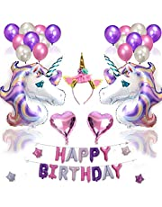 38PCS lovely unicorn balloon pink purple latex foil stars happy birthday balloons party decorations heart inflatable unicorn letter ballons mm