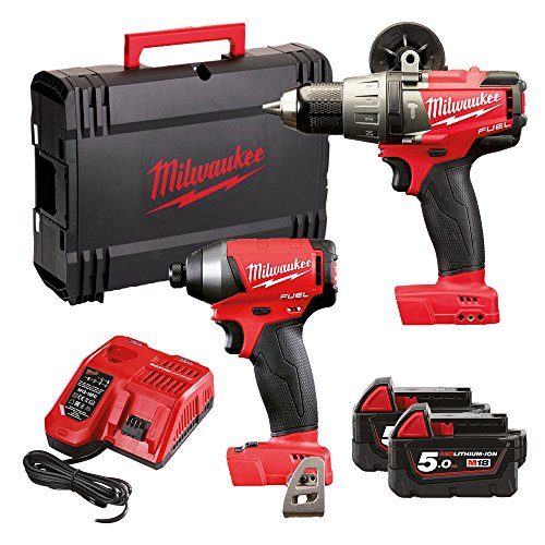 Milwaukee M18FPP2A-502X Fuel Twin Pack FPD Percussion Drill, M18 FID Impact Driver, 2 x 5.0ah Batteries, Fast Charger, dynacase, 240 W, 18 V, Multi