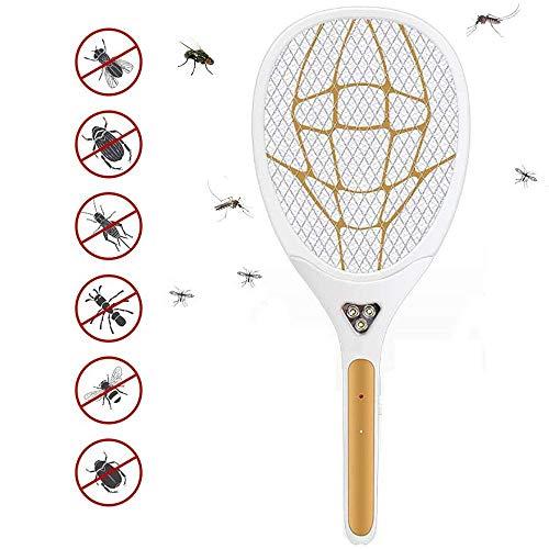 DONG Elektrische Moskito-Klatsche Fliegenklatsche Mückenschutz & Insect Bug Killer USB aufladbare, für Indoor Outdoor Reise Campings Gartenarbeit, Gold