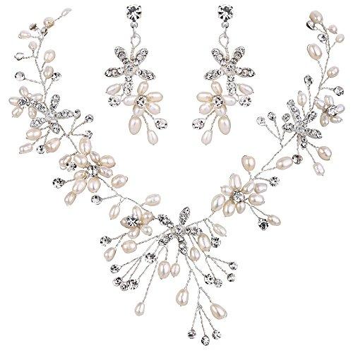 BriLove Silver Tone Freshwater Cultured Pearl Necklace Earrings Jewelry Set for Women Bohemian Boho Crystal Handmade Filigree Flower Teardrop Choker Necklace Dangle Earrings Set Clear