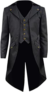 COSSKY Boys Gothic Tailcoat Jacket Steampunk Long Coat Halloween Costume