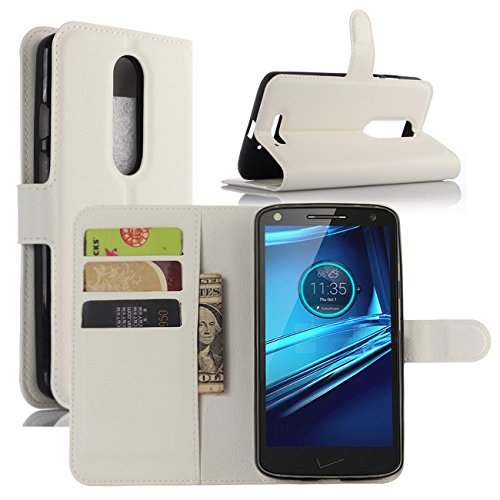 Droid Turbo 2 Cases, Premium PU Leather Wallet Flip Case Cover with Stand Card Holder for Motorola Droid Turbo 2 Verizon/Moto X Force 2015 Smart Phone (Wallet - White)
