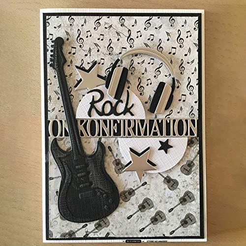 Lai-LYQ Gitarren Headset Stanzmaschine Stanzschablone, Scrapbooking Prägeschablonen Papier Handwerk Deko Festival Karten Geschenk Silver