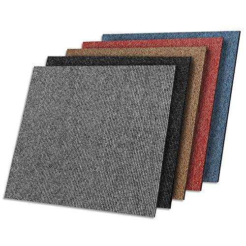 Kairo - Moqueta en losetas de suelo para oficina y casa, autoadhesiva, resistente y fácil de limpiar, jaspeado, disponible en muchos colores (50 x 50 cm, azul)
