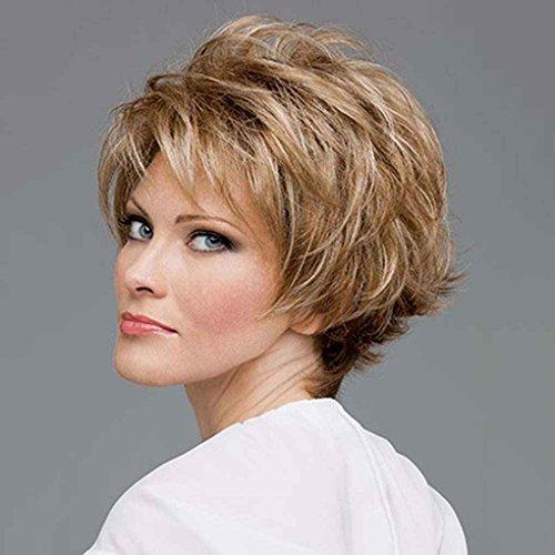 Xuanhemen Cheveux Courts ondulés Cheveux Perruques Pixie Cut Cheveux synthétiques Perruques Bourgogne pour Les Femmes