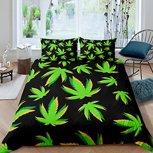 Juego de funda de edredón de hojas de marihuana, juego de cama para niños, niñas, marihuana, hojas de maleza, funda de edredón verde, negro, funda de edredón de 3 piezas, tamaño King