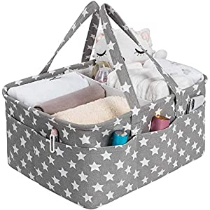 Baby Diaper Caddy Organizer- Stylish Nursery Caddy Organizer Large Portable Diaper Storage Basket for Changing Table & Car- Baby Shower Gifts Basket – Baby registry research- Grey with Stars