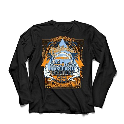 lepni.me Camiseta de Manga Larga para Hombre Primer día de California - Explorador de la bahía Costera - Ropa de Surf (Large Negro Multicolor)
