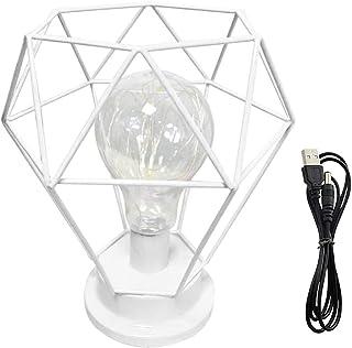 Lámpara de mesa de noche con forma de diamante, estilo nórdico, de alambre de hierro, lámpara de mesa decorativa de metal, funciona con pilas, para dormitorio, sala de estar (blanco)
