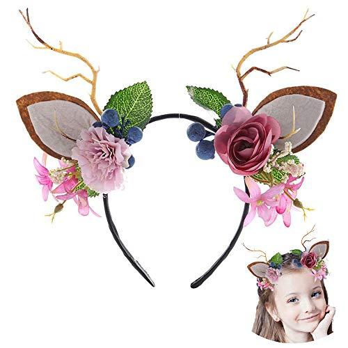 Helloween Girl Antler Flower Headband with Deer Ears Adult Kid Hair Hoop Christmas Birthday Party Costume Decoration