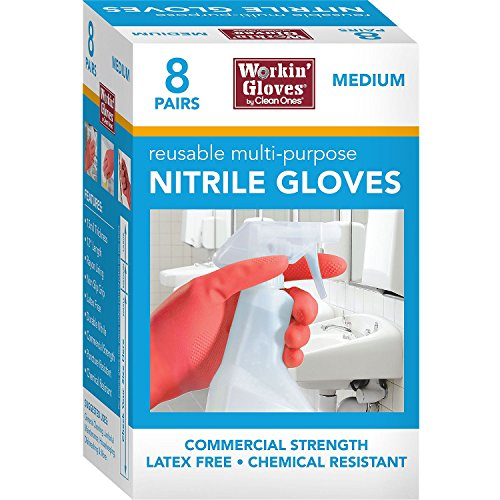 Clean Ones 8-PAIRS Workin' Gloves 12' Reusuable Multi-Purpose Nitrile Gloves, 15 Mil Thick Commercial Strength, Latex Free, Chemical Resistant, Non-Slip Grip