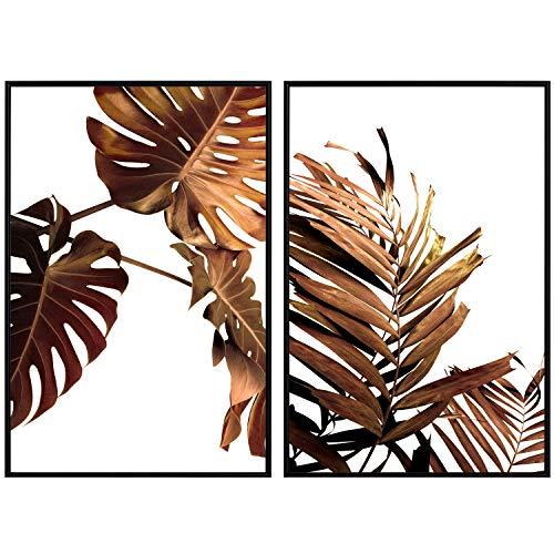 decomonkey | Poster 2er – Set schwarz-weiß Abstrakt Kunstdruck Wandbild Print Bilder Bilderrahmen Kunstposter Wandposter Posterset Natur Pflanze Blatt Laub braun