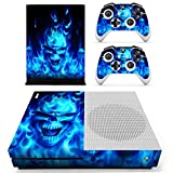 Sololife Vinyl Skin Sticker for Xbox ONE S Slim Console & Controllers (Blue Skull)