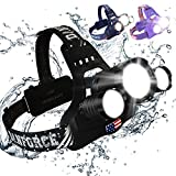 DanForce Bright LED Headlamp – American Made Head Flashlight – 3 Cree LEDs, 4 Modes, 6000 Lumens, Rechargeable Batteries – Sweat-Resistant Band – Dust and Waterproof + FREE Lenses , (Army Patriot)