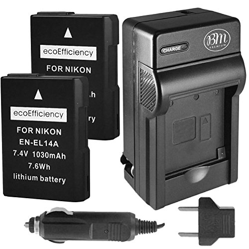 ecoEfficiency 2 Pack of Fully Decoded EN-EL14, EN-EL14A Batteries and Charger for Nikon D3400, D5600 Digital SLR Camera
