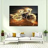 SQSHBBC Embelish 1 Piezas Pintura de luz Caliente Bicicleta Arte de la Pared Carteles para Sala de Estar Decoración Moderna para el hogar HD Lienzo Pintura al óleo60x75cm Enmarcado