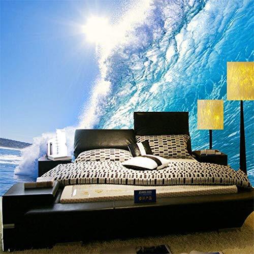 BHXIAOBAOZI Eigen 4D muurschildering groot behang, Deep Blue Sea Surf Golven, Modern Hd-zijde muurschildering Poster Foto TV Sofa achtergrond muur decoratie voor woonkamer 400cm(W)×250cm(H)|13.12×8.2 ft