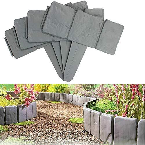 BESTINE Garden Lawn Fence, Stone Effect Edging Interlocking Flower Bed Landscape Border Grass Edge Plastic Imitation Plant Palisade Garden Decoration Fence((20,Gray))