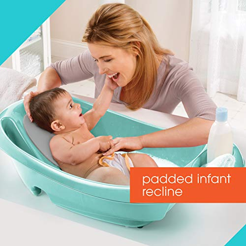 Summer Splish 'n Splash Newborn to Toddler Tub (Aqua) - 3-Stage Tub for Newborns, Infants, and Toddlers - Includes Fabric Newborn Sling, Cushioned Support, Parent Assist Tray, and a Drain Plug