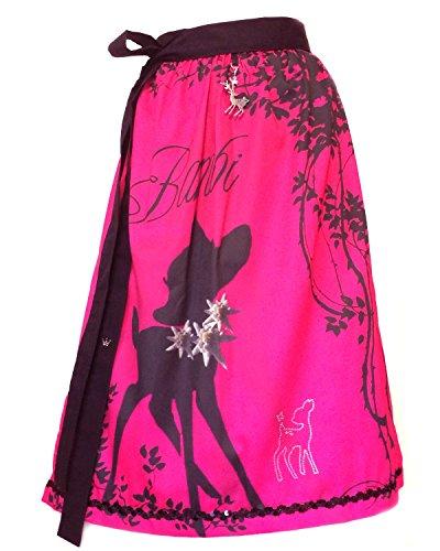 Schürzenliesl, Designer Dirndl Schürze Bambi auf Pink, Strassbambi, Paillettenborte (60cm)