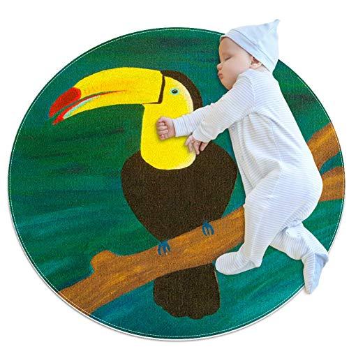 Toucan runder Teppich, rutschfest, groß, kreisförmig, für Wohnzimmer, Schlafzimmer, moderner Mikrofaser, weicher Teppich, maschinenwaschbar, Bodenmatte, Heimdekoration, 7 m Durchmesser
