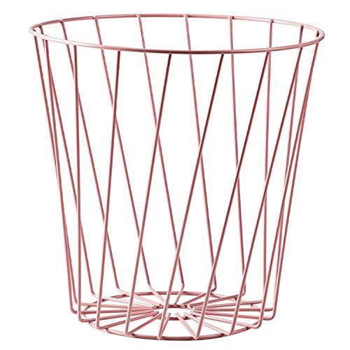 Hacoly PapierkorbMetall Hoch Papiereimer Papierkörbe Mülleimer Convenient Durable Müllkorb für Büro Badezimmer Wohnzimmer Abfalleimer - Hell Rosa