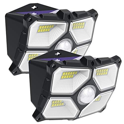 2pcs Luce Solare, 40 LED Everbright Outdoor Luce di Sicurezza Alimentata Solare con Sensore Grandangolare. Luci da Parete per Giardino Impermeabile Senza Fili per Recinzione, Patio