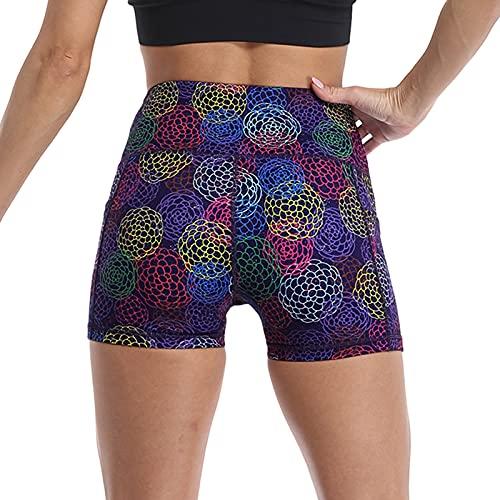 JKRTR - Pantalones cortos de fitness para mujer, pantalón corto de cintura alta, estampado a la moda, pantalones cortos de fiesta, abdomen, yoga, running morado S