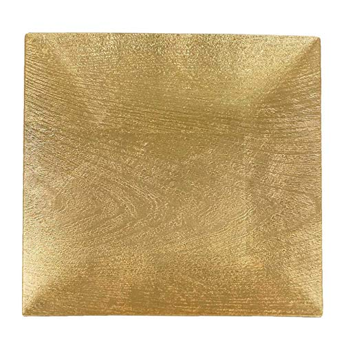 Tiger Chef Gold Charger Plates - Square Plate Chargers for Dinner Plates - Wedding Décor Placemats Wooden Texture 6 Pack