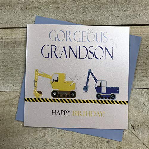 Wit Katoen Kaarten Prachtige kleinzoon Gelukkig, Handgemaakte Jongens Verjaardagskaart (Neon, Diggers)