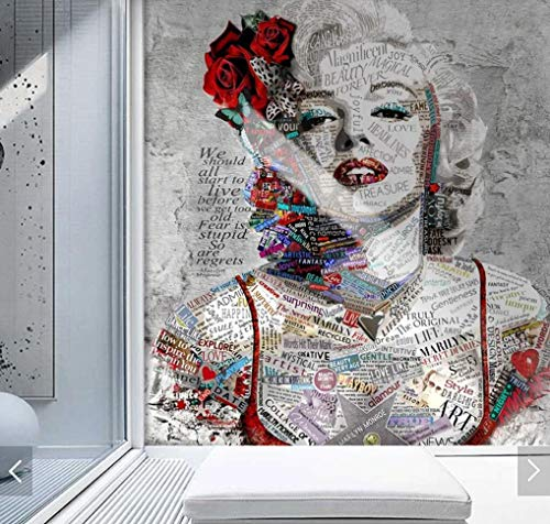 Papel tapiz mural 3D Mural papel tapiz Marilyn Meng figura para sala de estar dormitorio decoración de la pared del hogar cualquier rollo de papel tapiz de pintura al óleo 400(W) X280(H) Cm