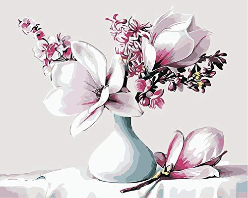 Schilderij door cijfers Bloem vaas DIY Canvas Olieverfkit voor Kinderen Volwassenen Acryl Tekening Schilderij met Penselen Pictures Arts Woonkamer Decor(16x20inch)