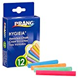 PRANG Hygieia Chalkboard Chalk, 3.25' x .38' Sticks, Assorted Colors White/Yellow/Pink/Blue, 12-Count Box (61400)